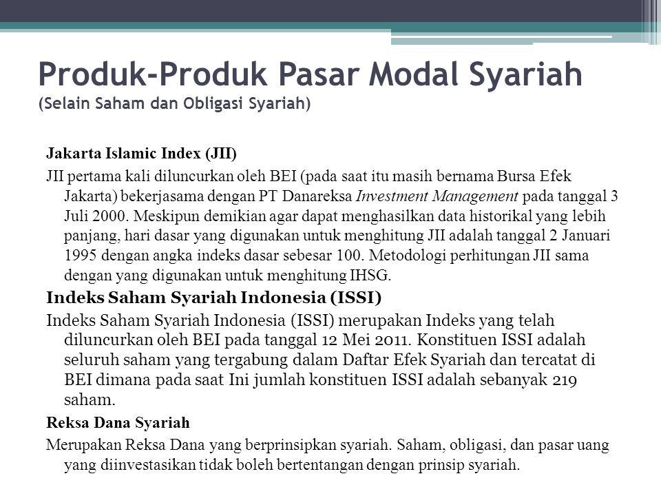Produk-Produk Pasar Modal Syariah (Selain Saham dan Obligasi Syariah) Jakarta Islamic Index (JII) JII pertama kali diluncurkan oleh BEI (pada saat itu