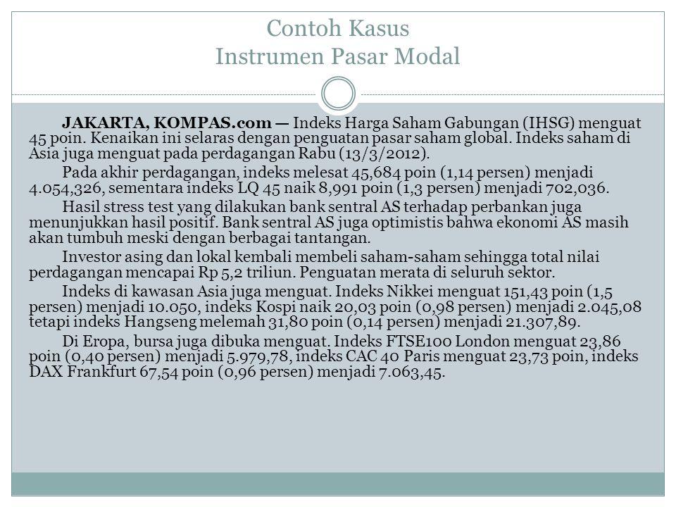 Contoh Kasus Instrumen Pasar Modal JAKARTA, KOMPAS.com — Indeks Harga Saham Gabungan (IHSG) menguat 45 poin. Kenaikan ini selaras dengan penguatan pas