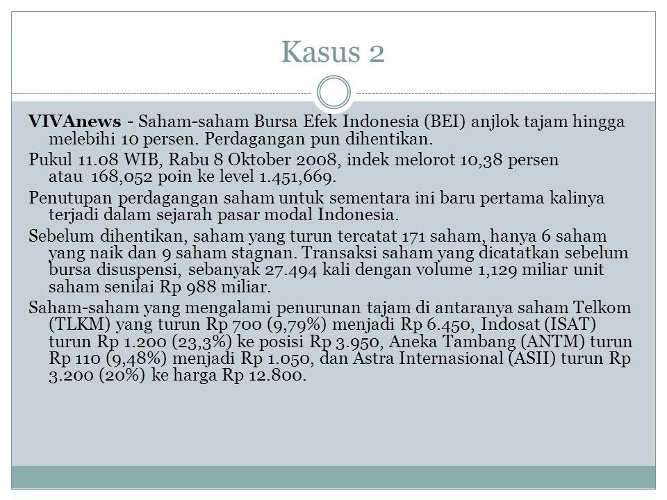 Kasus 2 VIVAnews - Saham-saham Bursa Efek Indonesia (BEI) anjlok tajam hingga melebihi 10 persen. Perdagangan pun dihentikan. Pukul 11.08 WIB, Rabu 8