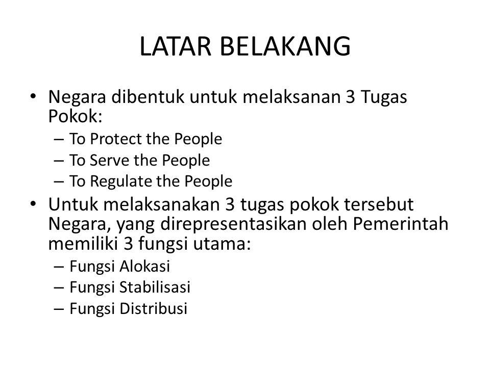 LATAR BELAKANG • Negara dibentuk untuk melaksanan 3 Tugas Pokok: – To Protect the People – To Serve the People – To Regulate the People • Untuk melaks