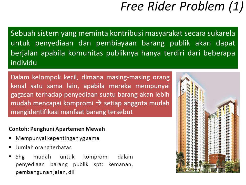 Free Rider Problem (1) Contoh: Penghuni Apartemen Mewah  Mempunyai kepentingan yg sama  Jumlah orang terbatas  Shg mudah untuk kompromi dalam penye