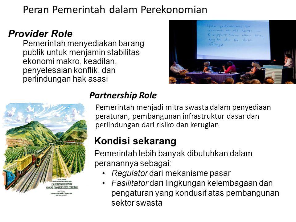 Peran Pemerintah dalam Perekonomian Partnership Role Pemerintah menjadi mitra swasta dalam penyediaan peraturan, pembangunan infrastruktur dasar dan p
