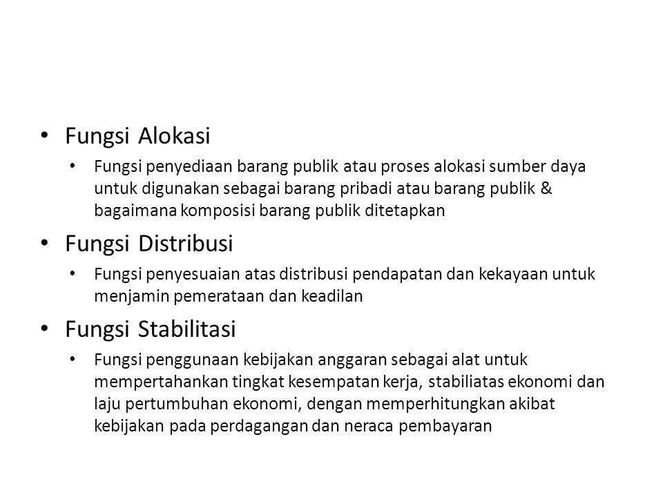 • Fungsi Alokasi • Fungsi penyediaan barang publik atau proses alokasi sumber daya untuk digunakan sebagai barang pribadi atau barang publik & bagaima
