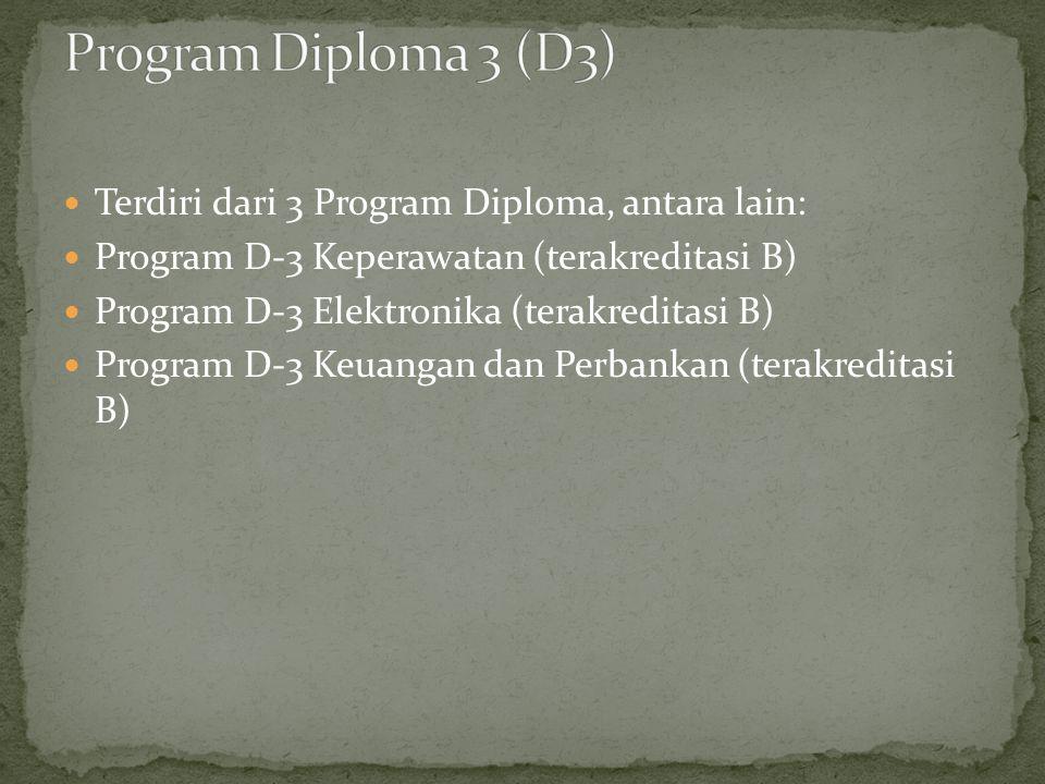  Terdiri dari 3 Program Diploma, antara lain:  Program D-3 Keperawatan (terakreditasi B)  Program D-3 Elektronika (terakreditasi B)  Program D-3 Keuangan dan Perbankan (terakreditasi B)