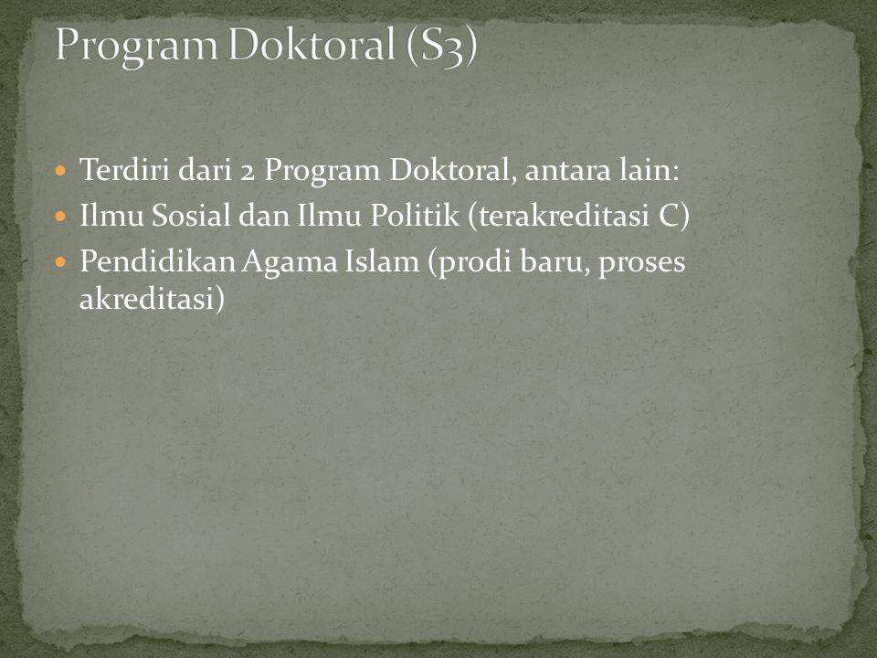  Terdiri dari 2 Program Doktoral, antara lain:  Ilmu Sosial dan Ilmu Politik (terakreditasi C)  Pendidikan Agama Islam (prodi baru, proses akreditasi)