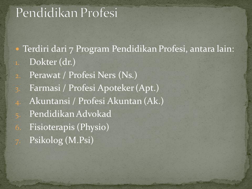  Terdiri dari 7 Program Pendidikan Profesi, antara lain: 1. Dokter (dr.) 2. Perawat / Profesi Ners (Ns.) 3. Farmasi / Profesi Apoteker (Apt.) 4. Akun