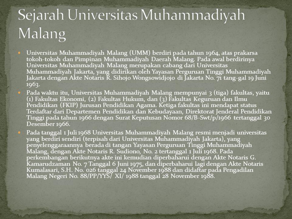  Universitas Muhammadiyah Malang (UMM) berdiri pada tahun 1964, atas prakarsa tokoh-tokoh dan Pimpinan Muhammadiyah Daerah Malang.
