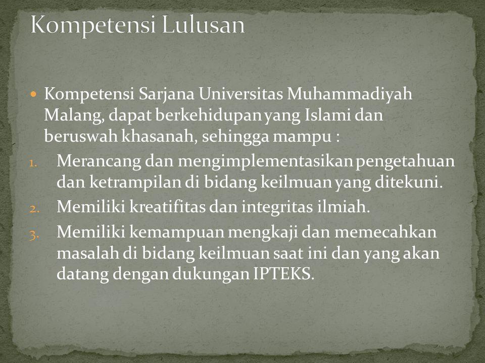  Kompetensi Sarjana Universitas Muhammadiyah Malang, dapat berkehidupan yang Islami dan beruswah khasanah, sehingga mampu : 1. Merancang dan mengimpl