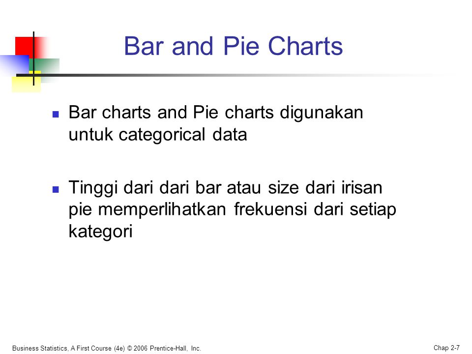 Business Statistics, A First Course (4e) © 2006 Prentice-Hall, Inc. Chap 2-7 Bar and Pie Charts  Bar charts and Pie charts digunakan untuk categorica