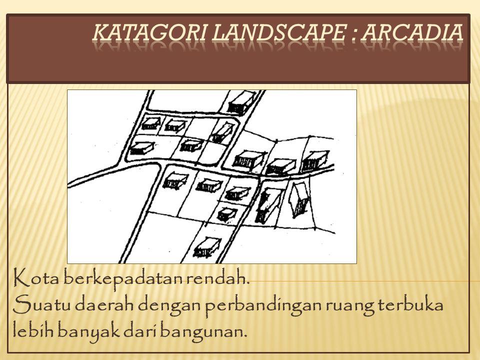 Kota berkepadatan rendah. Suatu daerah dengan perbandingan ruang terbuka lebih banyak dari bangunan.