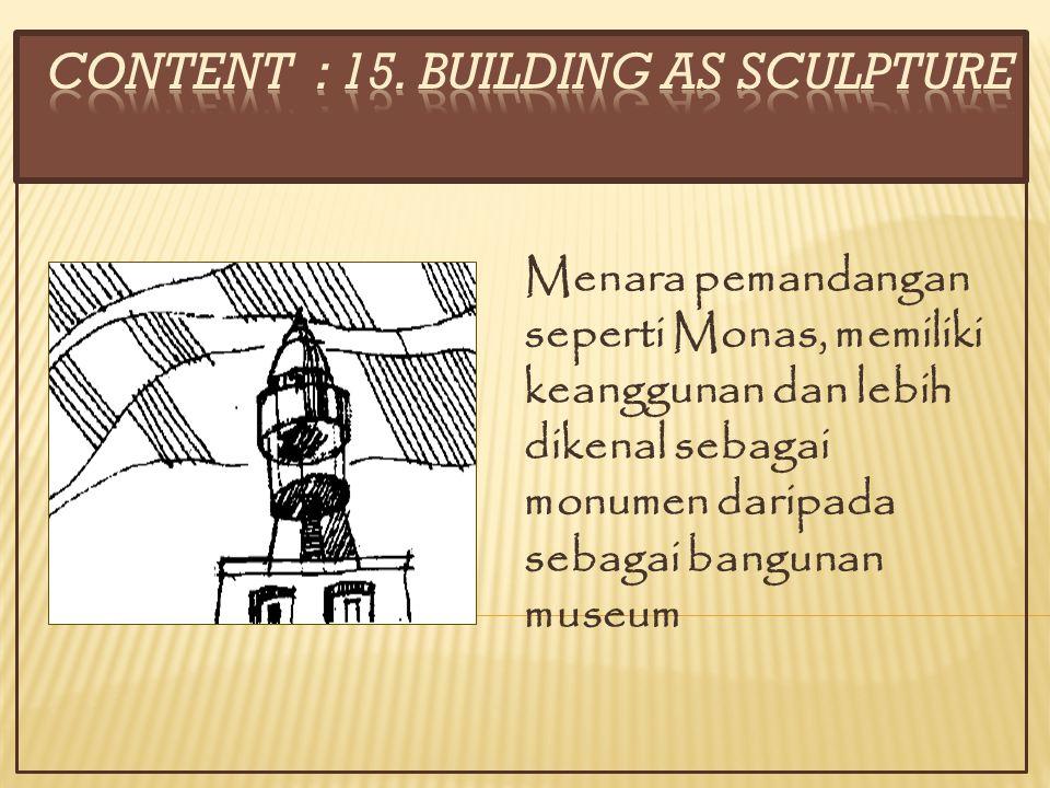 Menara pemandangan seperti Monas, memiliki keanggunan dan lebih dikenal sebagai monumen daripada sebagai bangunan museum