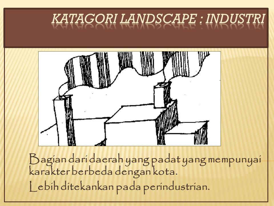Bagian dari daerah yang padat yang mempunyai karakter berbeda dengan kota. Lebih ditekankan pada perindustrian.