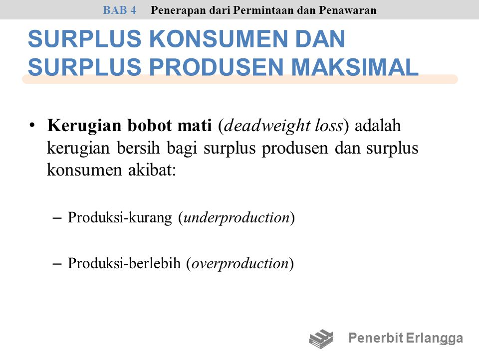 SURPLUS KONSUMEN DAN SURPLUS PRODUSEN MAKSIMAL • Kerugian bobot mati (deadweight loss) adalah kerugian bersih bagi surplus produsen dan surplus konsum