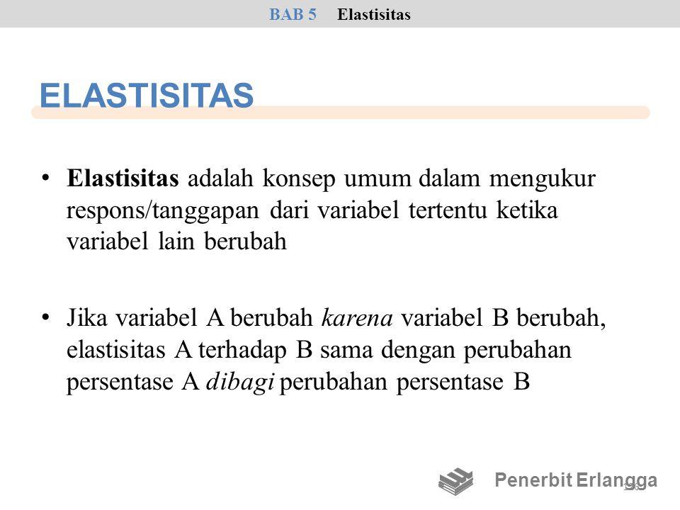 ELASTISITAS • Elastisitas adalah konsep umum dalam mengukur respons/tanggapan dari variabel tertentu ketika variabel lain berubah • Jika variabel A be