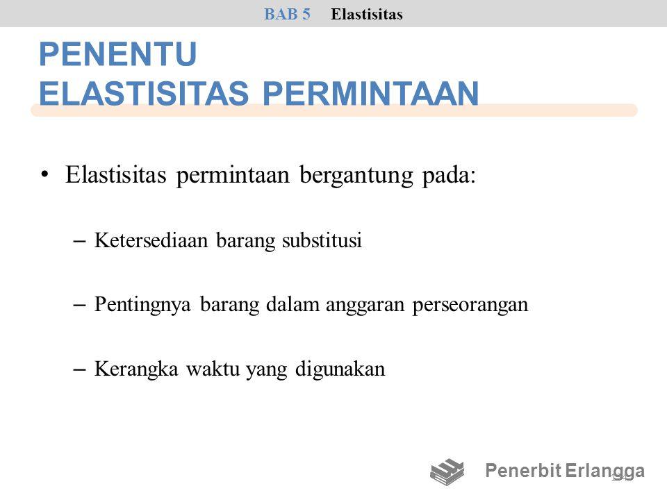 PENENTU ELASTISITAS PERMINTAAN • Elastisitas permintaan bergantung pada: – Ketersediaan barang substitusi – Pentingnya barang dalam anggaran perseoran