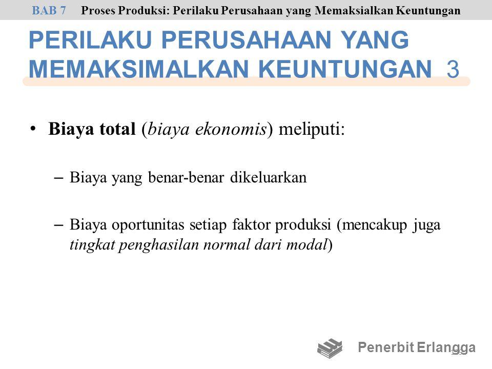 PERILAKU PERUSAHAAN YANG MEMAKSIMALKAN KEUNTUNGAN 3 • Biaya total (biaya ekonomis) meliputi: – Biaya yang benar-benar dikeluarkan – Biaya oportunitas