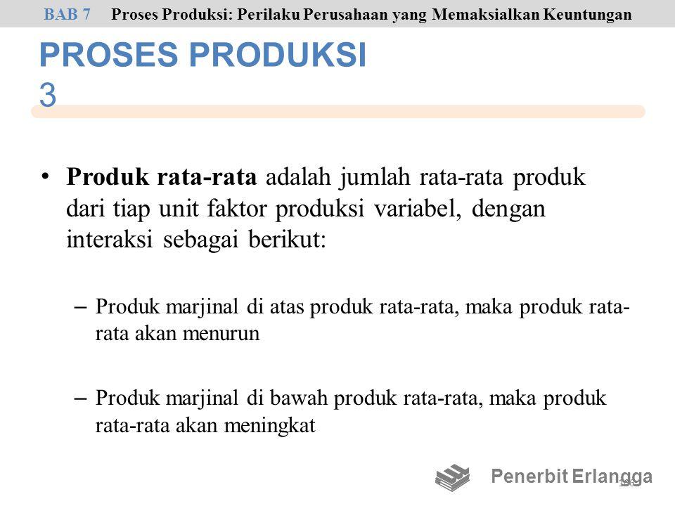 PROSES PRODUKSI 3 • Produk rata-rata adalah jumlah rata-rata produk dari tiap unit faktor produksi variabel, dengan interaksi sebagai berikut: – Produ