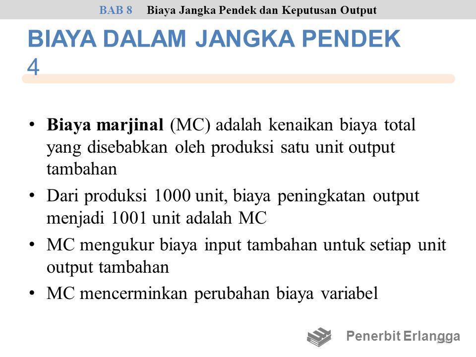 BIAYA DALAM JANGKA PENDEK 4 • Biaya marjinal (MC) adalah kenaikan biaya total yang disebabkan oleh produksi satu unit output tambahan • Dari produksi