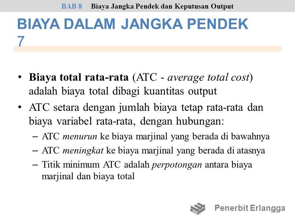 BIAYA DALAM JANGKA PENDEK 7 • Biaya total rata-rata (ATC - average total cost) adalah biaya total dibagi kuantitas output • ATC setara dengan jumlah b