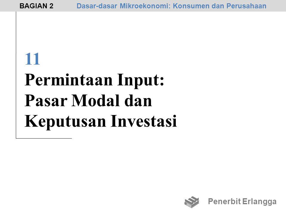 11 Permintaan Input: Pasar Modal dan Keputusan Investasi Penerbit Erlangga BAGIAN 2Dasar-dasar Mikroekonomi: Konsumen dan Perusahaan
