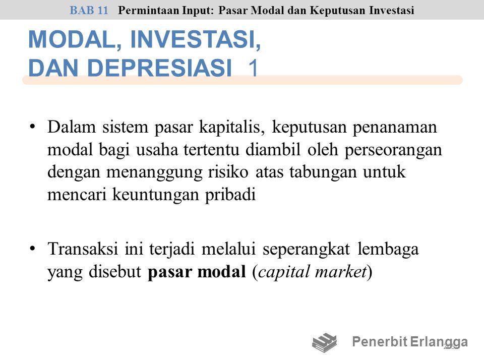 MODAL, INVESTASI, DAN DEPRESIASI 1 • Dalam sistem pasar kapitalis, keputusan penanaman modal bagi usaha tertentu diambil oleh perseorangan dengan mena