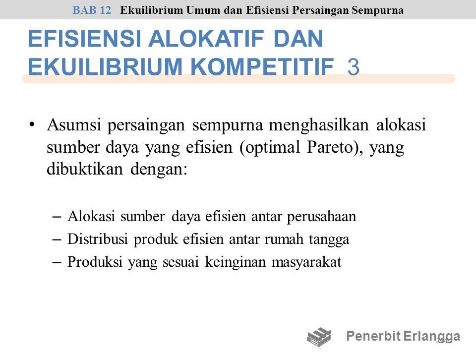 EFISIENSI ALOKATIF DAN EKUILIBRIUM KOMPETITIF 3 • Asumsi persaingan sempurna menghasilkan alokasi sumber daya yang efisien (optimal Pareto), yang dibu
