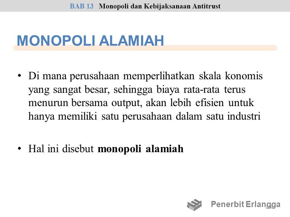 MONOPOLI ALAMIAH • Di mana perusahaan memperlihatkan skala konomis yang sangat besar, sehingga biaya rata-rata terus menurun bersama output, akan lebi