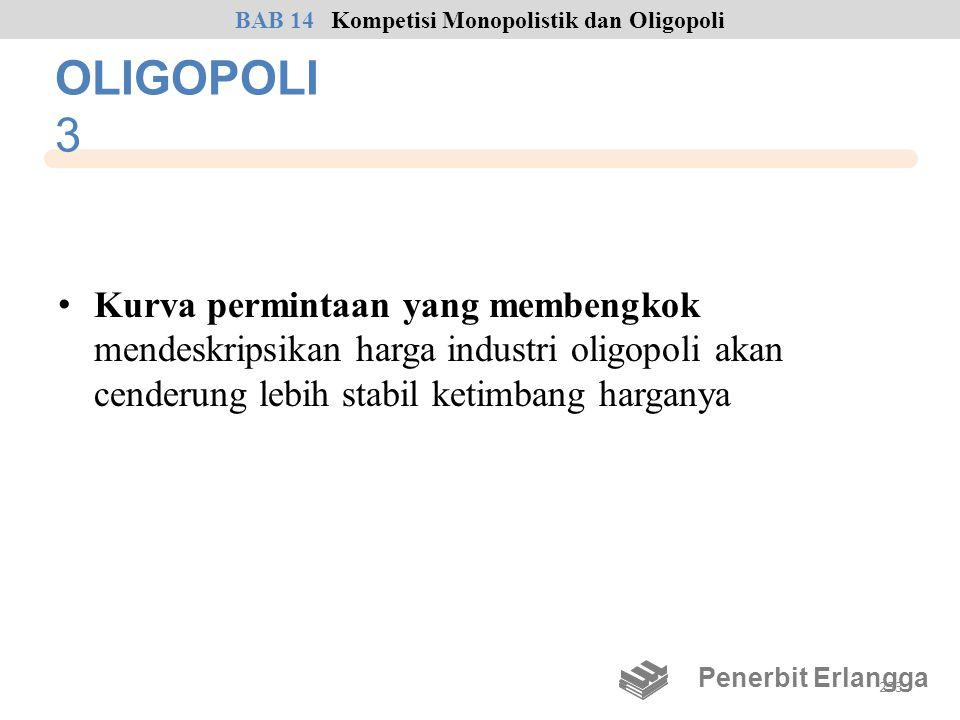 OLIGOPOLI 3 • Kurva permintaan yang membengkok mendeskripsikan harga industri oligopoli akan cenderung lebih stabil ketimbang harganya Penerbit Erlang