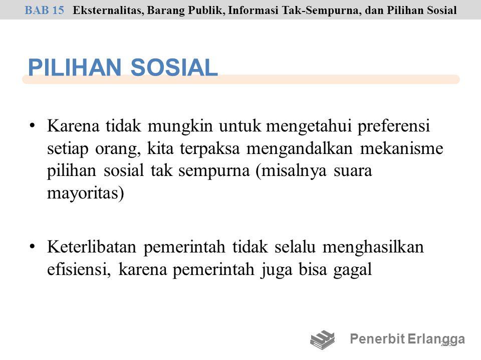 PILIHAN SOSIAL • Karena tidak mungkin untuk mengetahui preferensi setiap orang, kita terpaksa mengandalkan mekanisme pilihan sosial tak sempurna (misa