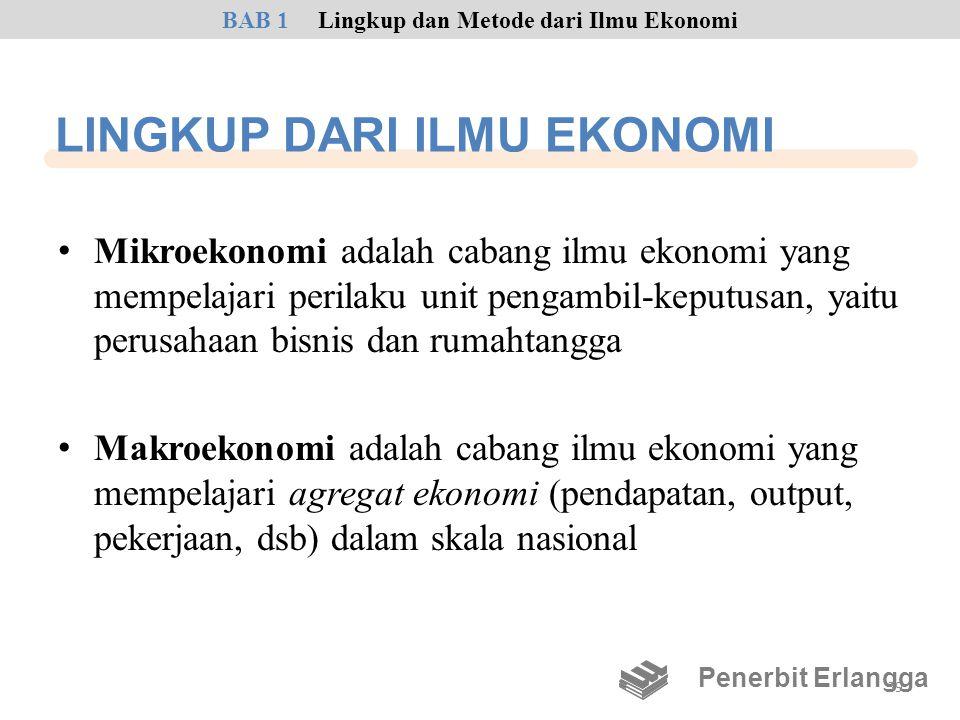 LINGKUP DARI ILMU EKONOMI • Mikroekonomi adalah cabang ilmu ekonomi yang mempelajari perilaku unit pengambil-keputusan, yaitu perusahaan bisnis dan ru