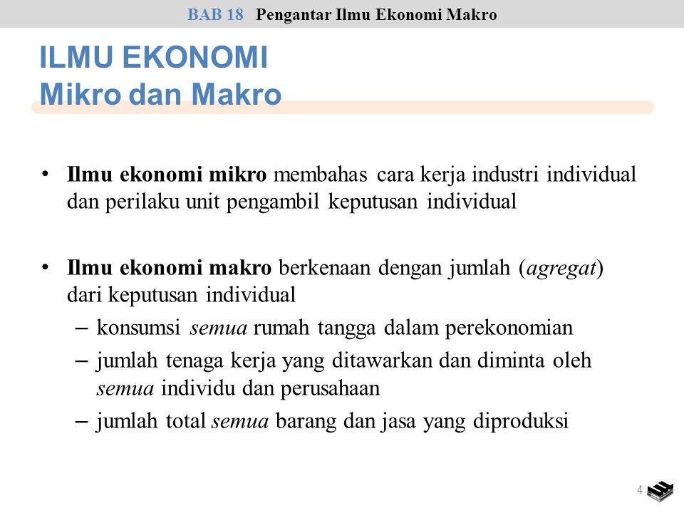 • Ilmu ekonomi mikro membahas cara kerja industri individual dan perilaku unit pengambil keputusan individual • Ilmu ekonomi makro berkenaan dengan ju