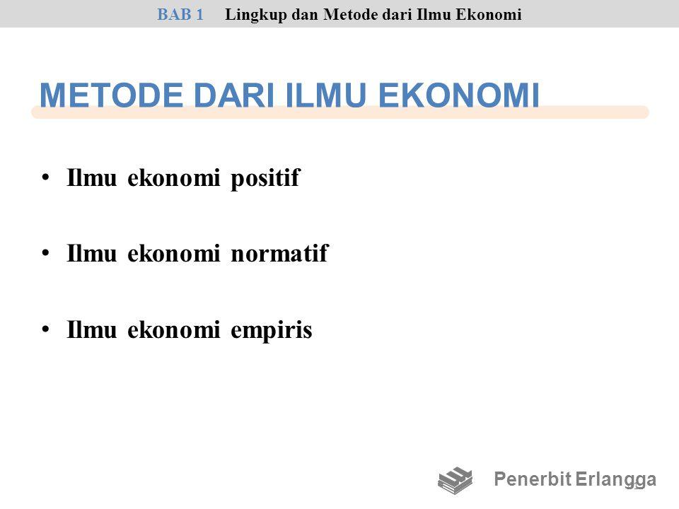 METODE DARI ILMU EKONOMI • Ilmu ekonomi positif • Ilmu ekonomi normatif • Ilmu ekonomi empiris BAB 1Lingkup dan Metode dari Ilmu Ekonomi Penerbit Erla