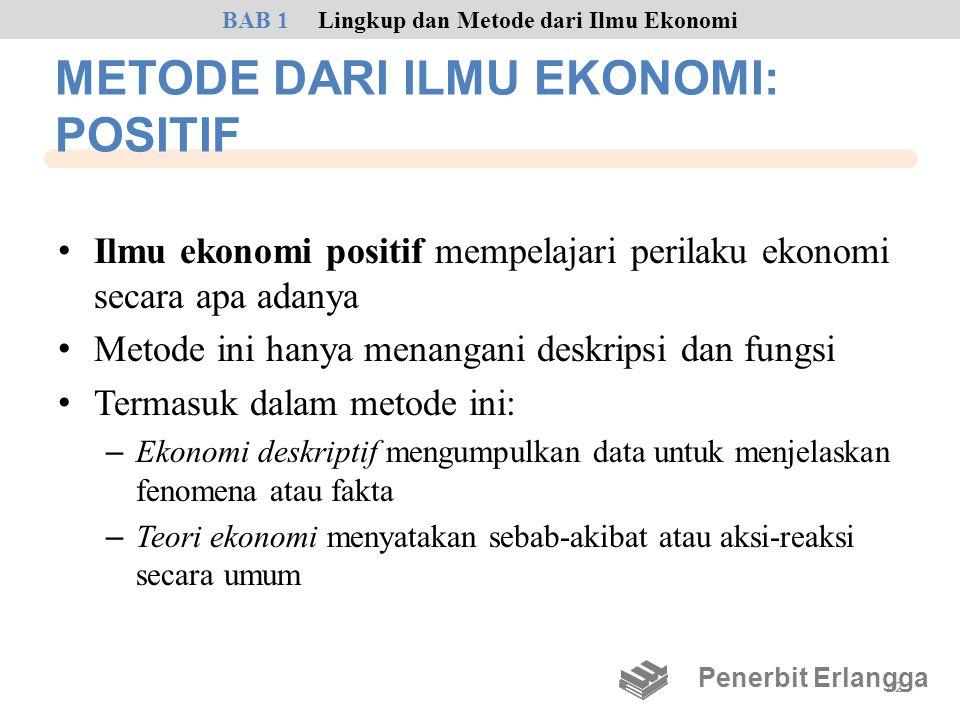 METODE DARI ILMU EKONOMI: POSITIF • Ilmu ekonomi positif mempelajari perilaku ekonomi secara apa adanya • Metode ini hanya menangani deskripsi dan fun