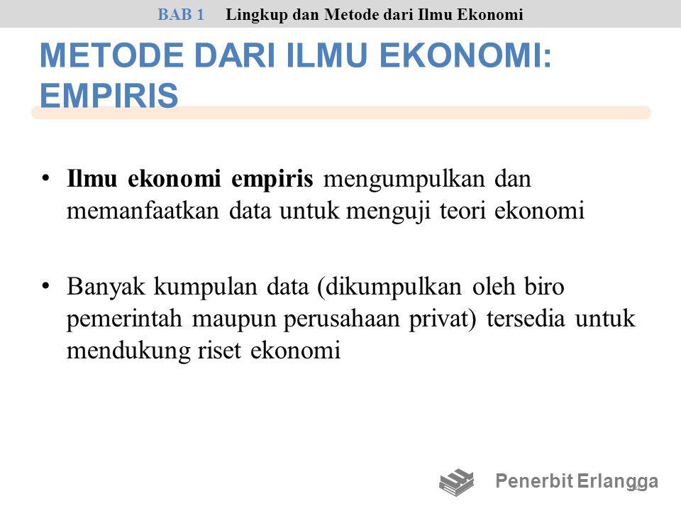 METODE DARI ILMU EKONOMI: EMPIRIS • Ilmu ekonomi empiris mengumpulkan dan memanfaatkan data untuk menguji teori ekonomi • Banyak kumpulan data (dikump