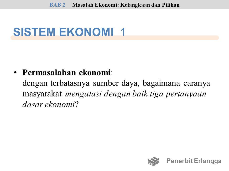 SISTEM EKONOMI 1 • Permasalahan ekonomi: dengan terbatasnya sumber daya, bagaimana caranya masyarakat mengatasi dengan baik tiga pertanyaan dasar ekon