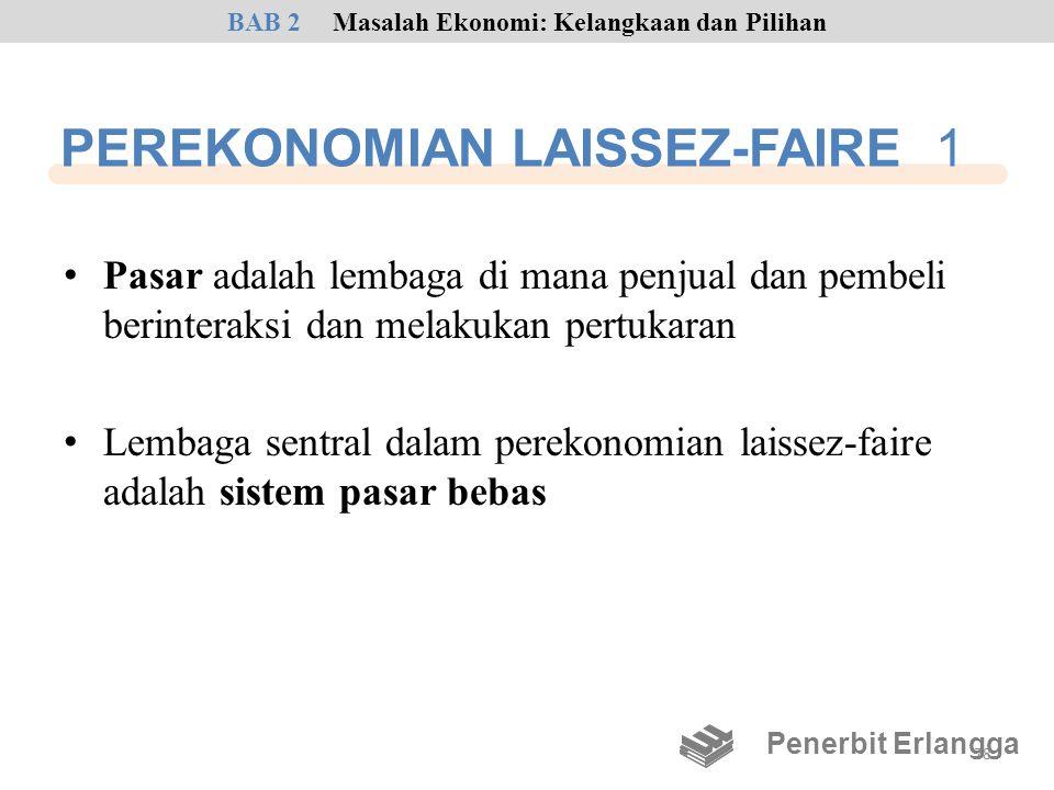 PEREKONOMIAN LAISSEZ-FAIRE 1 • Pasar adalah lembaga di mana penjual dan pembeli berinteraksi dan melakukan pertukaran • Lembaga sentral dalam perekono