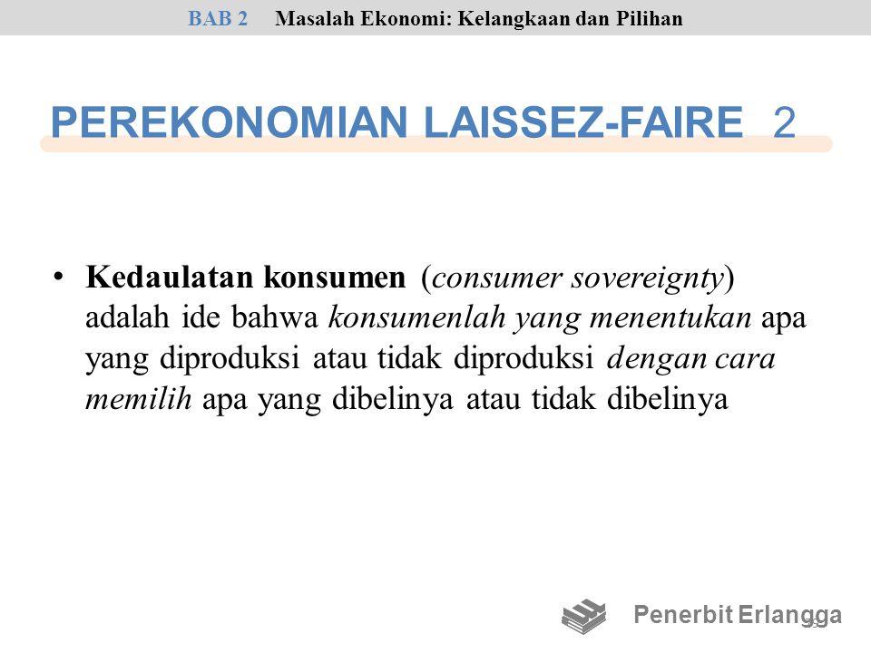 PEREKONOMIAN LAISSEZ-FAIRE 2 • Kedaulatan konsumen (consumer sovereignty) adalah ide bahwa konsumenlah yang menentukan apa yang diproduksi atau tidak