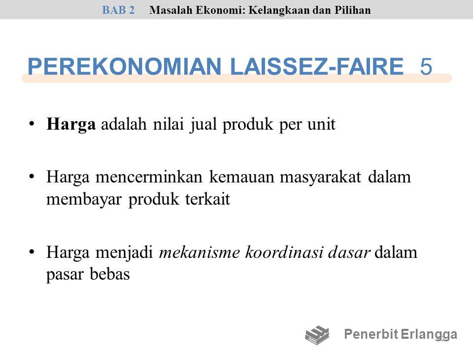 PEREKONOMIAN LAISSEZ-FAIRE 5 • Harga adalah nilai jual produk per unit • Harga mencerminkan kemauan masyarakat dalam membayar produk terkait • Harga m