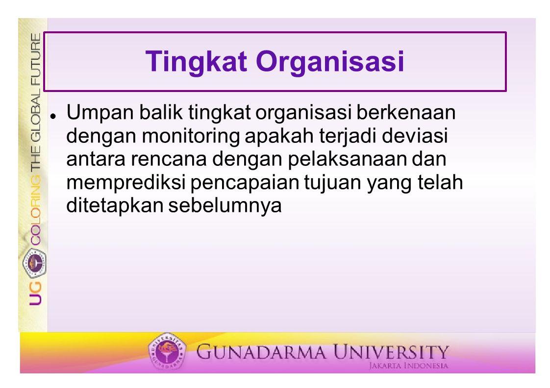 Tingkat Organisasi  Umpan balik tingkat organisasi berkenaan dengan monitoring apakah terjadi deviasi antara rencana dengan pelaksanaan dan memprediksi pencapaian tujuan yang telah ditetapkan sebelumnya