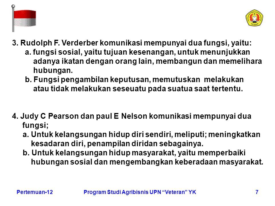 "7Pertemuan-12Program Studi Agribisnis UPN ""Veteran"" YK 3. Rudolph F. Verderber komunikasi mempunyai dua fungsi, yaitu: a. fungsi sosial, yaitu tujuan"