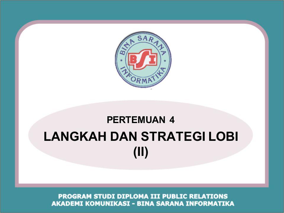 Referensi : Zainal Abidin Partao,MM. 2006. Teknik Lobi dan Diplomasi, Indeks, Jakarta. hal 241-268
