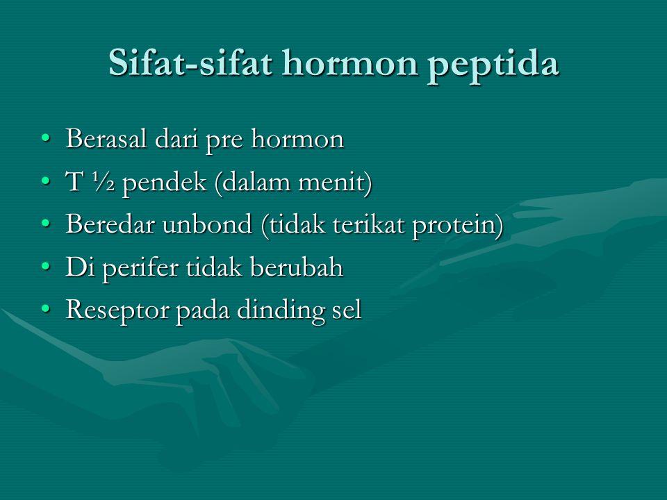 Klasifikasi hormon (secara kimia) •Gol amine : norepinefrin, epinefrin, T3, T4 •Gol protein dan polipeptide : FSH, HCG, LH, TSH, ACTH, prolaktin, Oksitosin, Glukagon, Insulin, PTH, Somatostatin, Relaksin, sekretin, GH, Gastrin, Kalsitonin, CCK, Eritropoetin, Angiostatin, somatostatin, dan vasopressin (ADH) •Gol Steroid : aldosteron, kortisol, estradiol, progesteron, testosteron,vitamin D