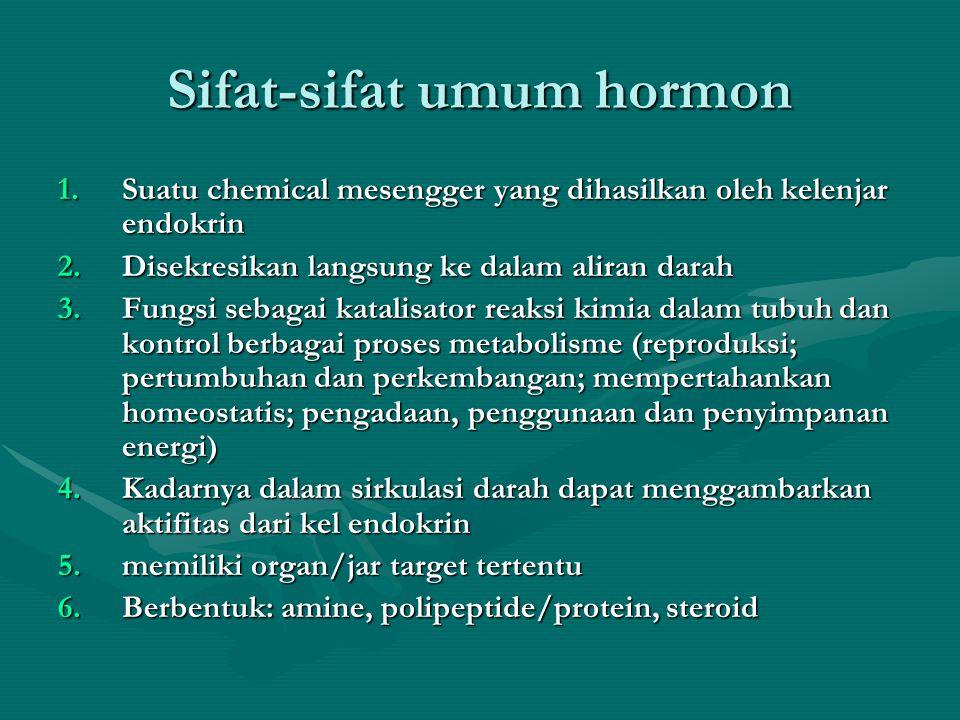 Sifat-sifat umum hormon 1.Suatu chemical mesengger yang dihasilkan oleh kelenjar endokrin 2.Disekresikan langsung ke dalam aliran darah 3.Fungsi sebagai katalisator reaksi kimia dalam tubuh dan kontrol berbagai proses metabolisme (reproduksi; pertumbuhan dan perkembangan; mempertahankan homeostatis; pengadaan, penggunaan dan penyimpanan energi) 4.Kadarnya dalam sirkulasi darah dapat menggambarkan aktifitas dari kel endokrin 5.memiliki organ/jar target tertentu 6.Berbentuk: amine, polipeptide/protein, steroid