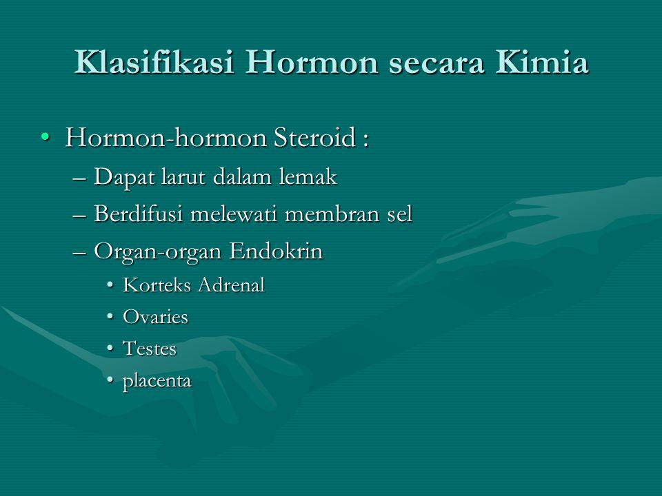 Klasifikasi Hormon secara Kimia •Hormon-hormon Steroid : –Dapat larut dalam lemak –Berdifusi melewati membran sel –Organ-organ Endokrin •Korteks Adrenal •Ovaries •Testes •placenta