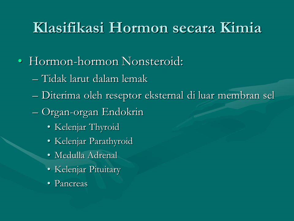 Klasifikasi Hormon secara Kimia •Hormon-hormon Nonsteroid: –Tidak larut dalam lemak –Diterima oleh reseptor eksternal di luar membran sel –Organ-organ Endokrin •Kelenjar Thyroid •Kelenjar Parathyroid •Medulla Adrenal •Kelenjar Pituitary •Pancreas