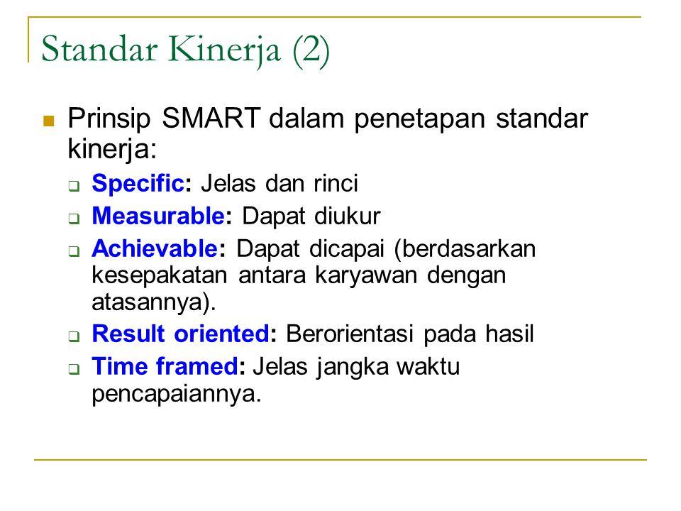 Standar Kinerja (2)  Prinsip SMART dalam penetapan standar kinerja:  Specific: Jelas dan rinci  Measurable: Dapat diukur  Achievable: Dapat dicapai (berdasarkan kesepakatan antara karyawan dengan atasannya).