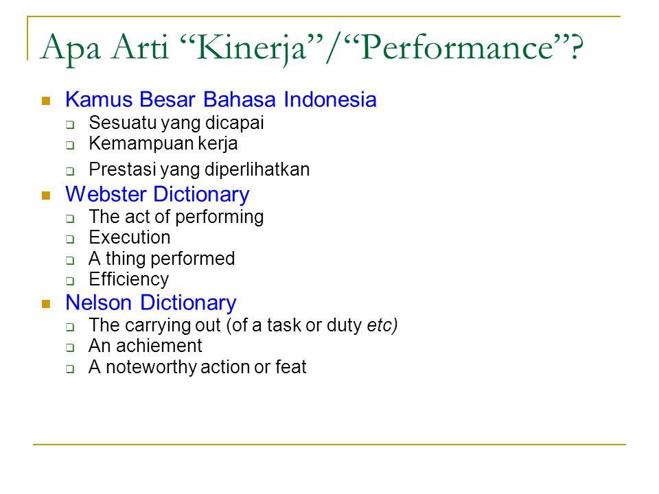 Apa Arti Kinerja / Performance .