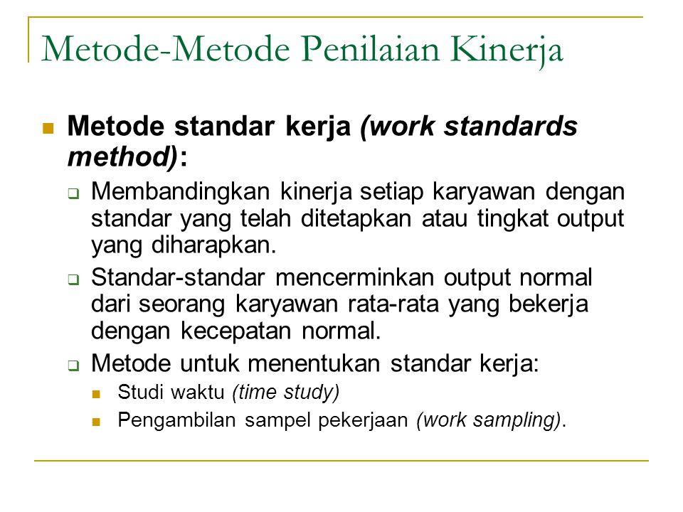 Metode-Metode Penilaian Kinerja  Metode standar kerja (work standards method):  Membandingkan kinerja setiap karyawan dengan standar yang telah ditetapkan atau tingkat output yang diharapkan.