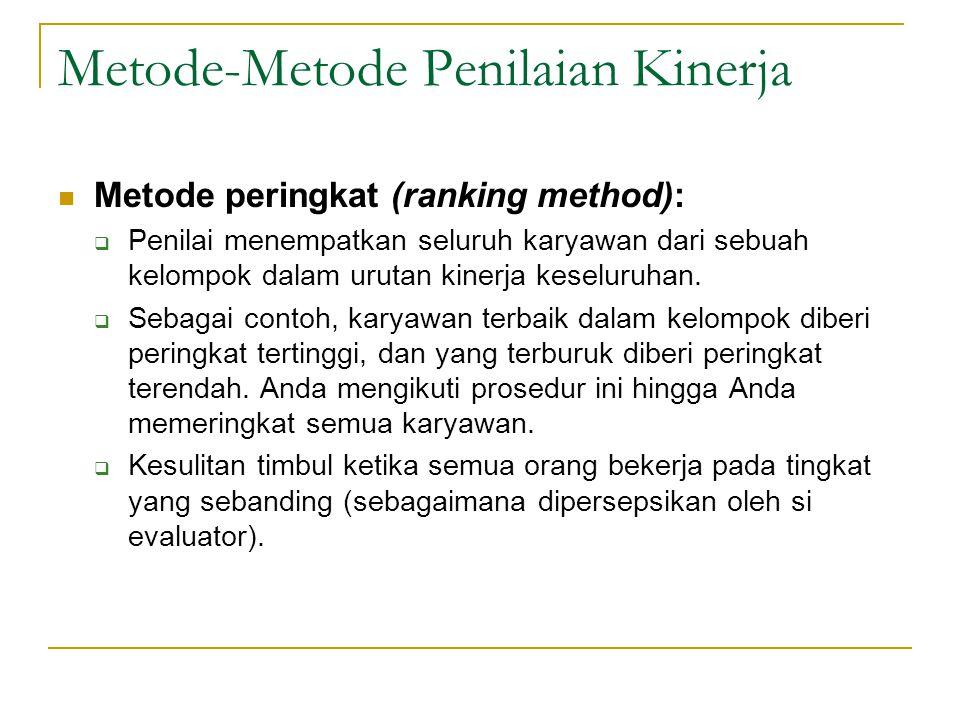 Metode-Metode Penilaian Kinerja  Metode peringkat (ranking method):  Penilai menempatkan seluruh karyawan dari sebuah kelompok dalam urutan kinerja keseluruhan.