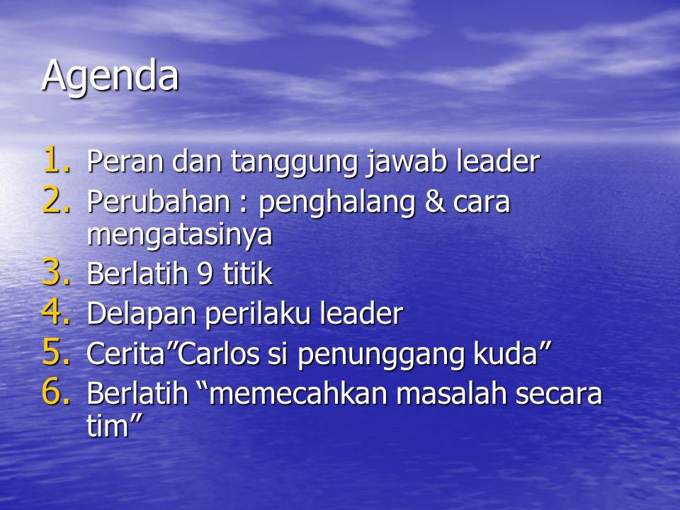 """Agenda 1. Peran dan tanggung jawab leader 2. Perubahan : penghalang & cara mengatasinya 3. Berlatih 9 titik 4. Delapan perilaku leader 5. Cerita""""Carlo"""